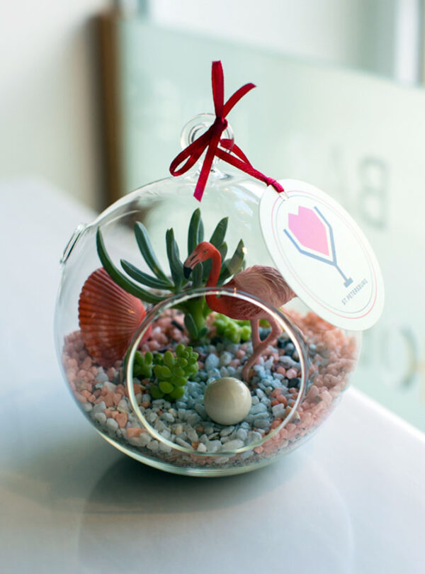 Флорариум с фламинго от LUBLU